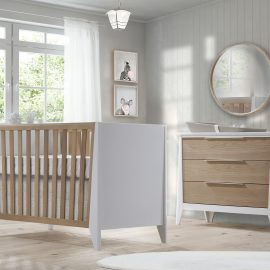 Flexx Collection baby room - Classic Crib & 3 Drawer Dresser in White and Natural Wheat