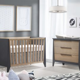 Flexx Collection White and Grey nursery- Classic Crib & 3 Drawer Dresser in Graphite and Natural Wheat