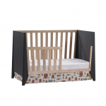 Flexx crib as daybed in graphite and natural oak wood toddler gate