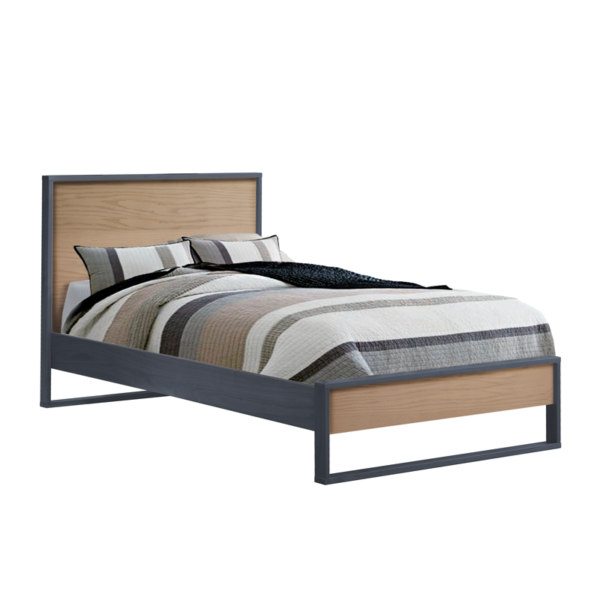 graphite wood twin bed with natural oak wood panel