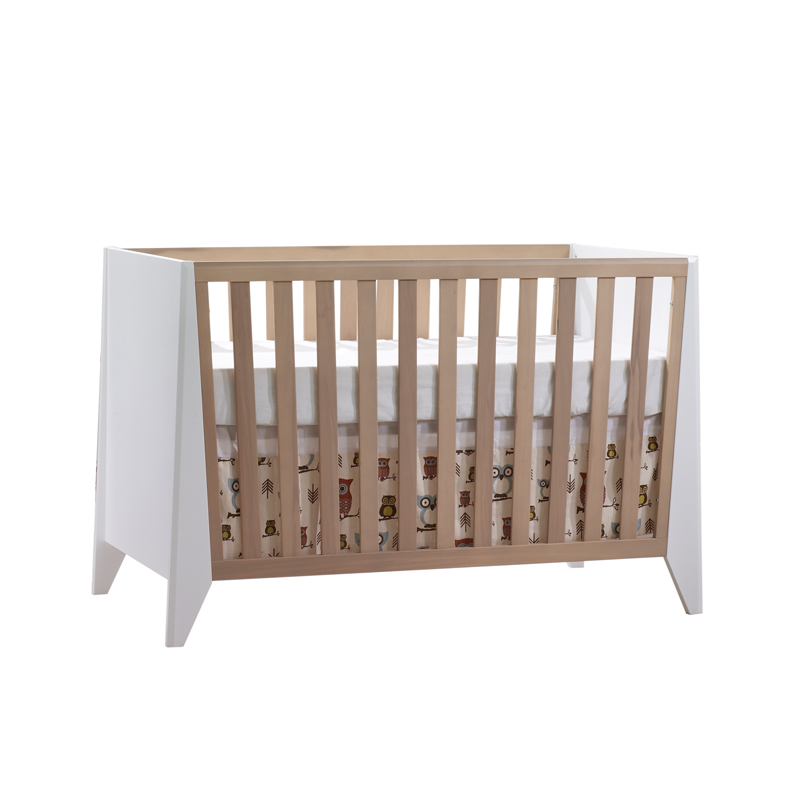 Flexx white and natural oak wood crib