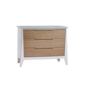 Flexx 3 drawer dresser in white with natural oak wood facades