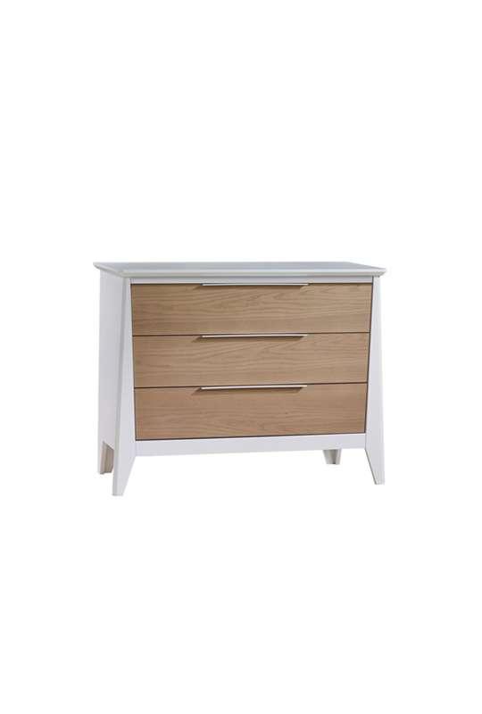 Flexx 3 drawer dresser in white with natural oak wood facades