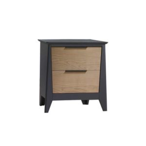 Flexx 2 drawer nightstand in graphite with natural oak wood facades