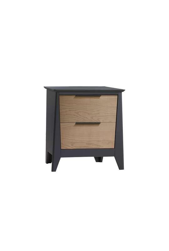 Flexx 2 drawer nightstand in graphite with natural oak wood facades