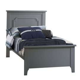 "Grey Classic Twin Bed 39"" with blue sheets"