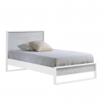 Vibe twin bed in white and white bark headboard