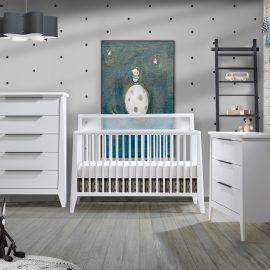 Flexx Collection - Classic Crib, 3 Drawer Dresser and 5 Drawer Dresser in White