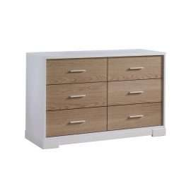 Vibe double dresser in white and natural oak wood facades