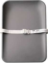 Matty changing mat in grey with white safety belt attached