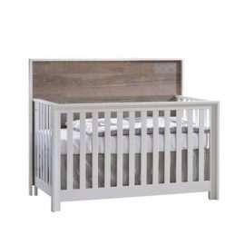 Vibe white crib with brown bark wood headboard