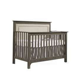 """Emerson """"5-in-1"""" Convertible Crib in Grigio with Linen Weave Upholstered Headboard Panel in Talc"""