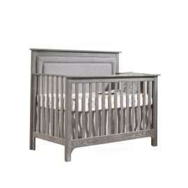 """Emerson """"5-in-1"""" Convertible Crib in Owl with Linen Weave Upholstered Headboard Panel in Fog"""