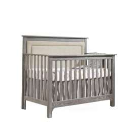 """Emerson """"5-in-1"""" Convertible Crib in Owl with Linen Weave Upholstered Headboard Panel in Talc"""