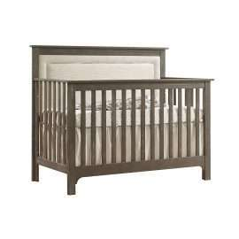 """Emerson """"5-in-1"""" Convertible Crib in Sugarcane with Linen Weave Upholstered Headboard Panel in Talc"""