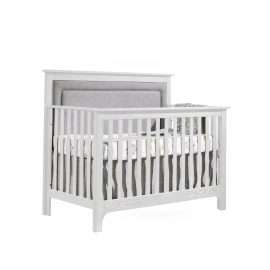 """Emerson """"5-in-1"""" Convertible Crib in White with Linen Weave Upholstered Headboard Panel in Fog"""