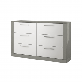 Milano Double Dresser in White and Elephant Grey